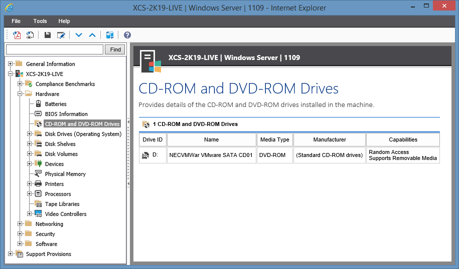 Screenshot showing CD and DVD Drives in the XIA Configuration web interface