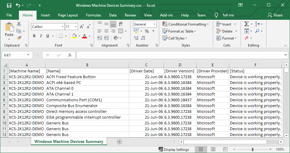 Screenshot of the Windows Machine Devices Summary Report exported to CSV