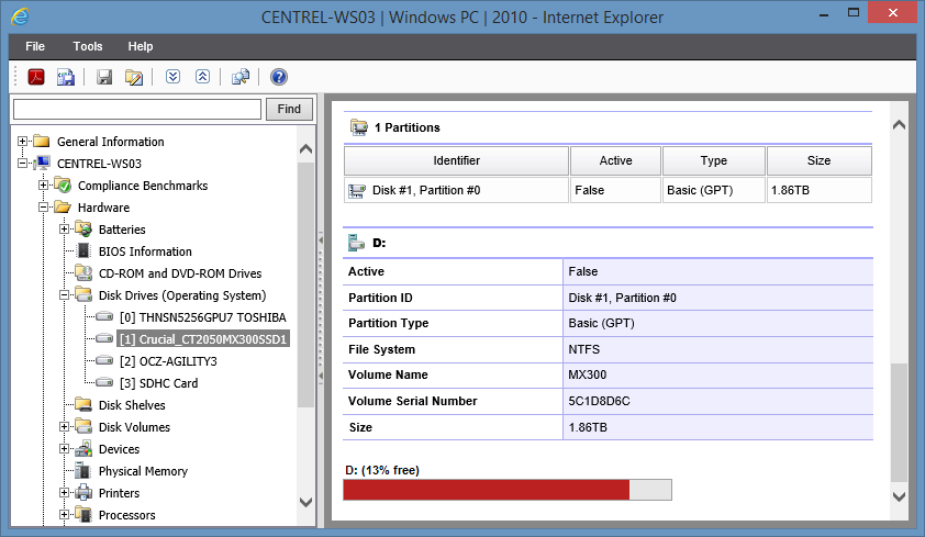 Screenshot showing Disk Drive Partitions in the XIA Configuration web interface
