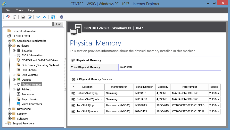 Screenshot showing Physical Memory in the XIA Configuration web interface