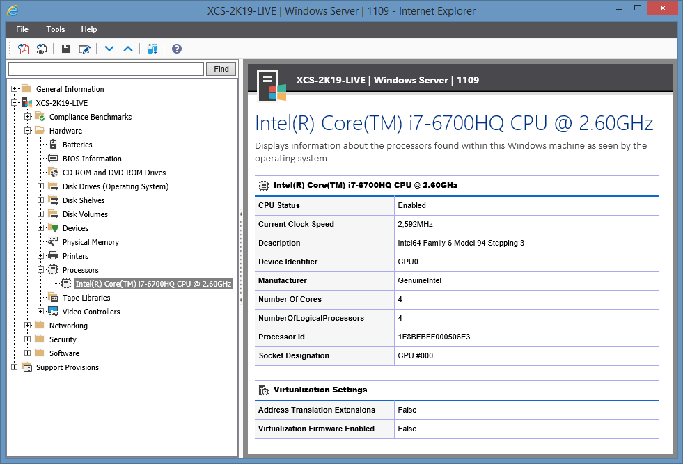 Screenshot showing Processor information in the XIA Configuration web interface