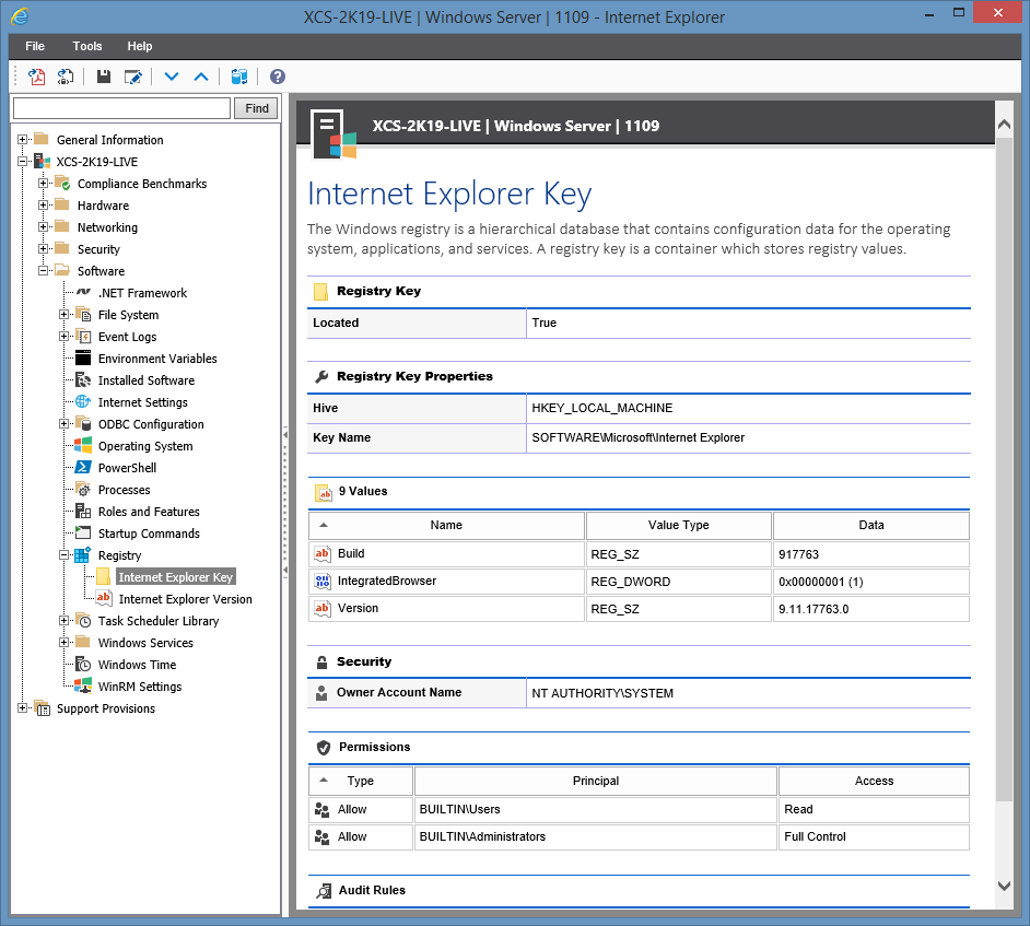 Screenshot of Windows Registry Key information in the XIA Configuration web interface