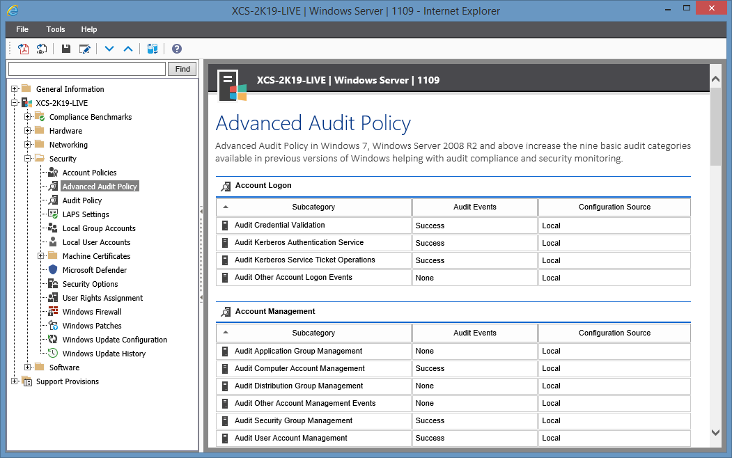 Screenshot of Advanced Audit Policy settings in the XIA Configuration web interface