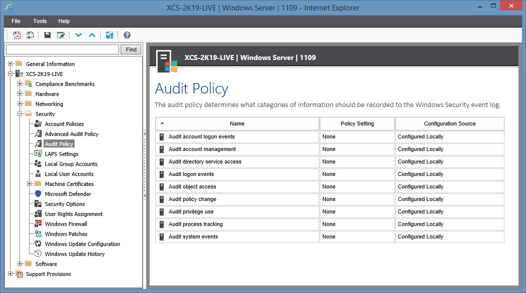 Screenshot of Audit Policy settings in the XIA Configuration web interface
