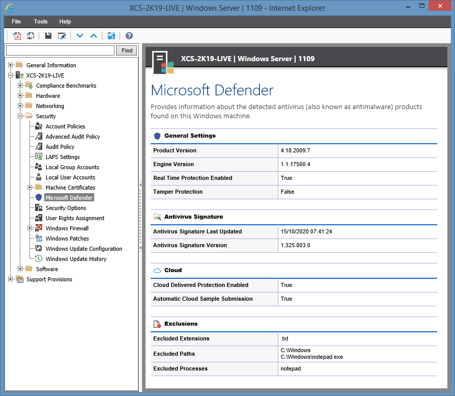 Screenshot of Microsoft Defender settings in the XIA Configuration web interface