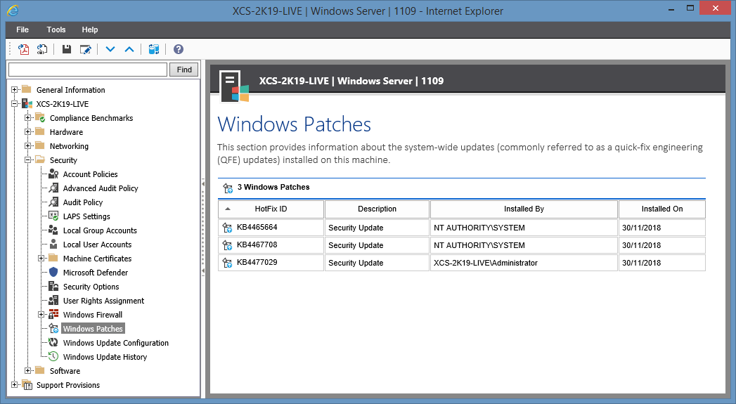 Screenshot showing Windows Patches in the XIA Configuration web interface
