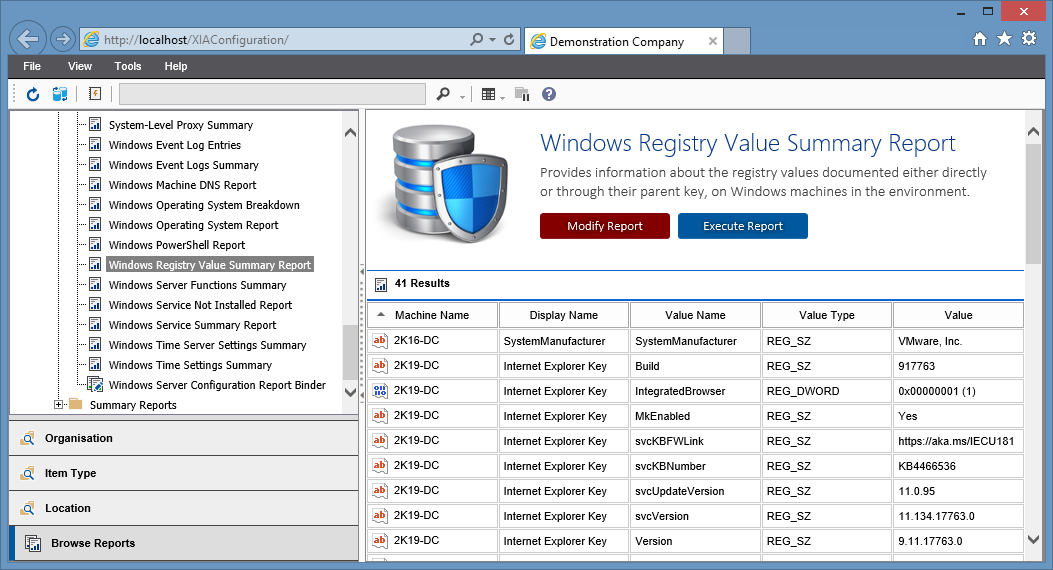 Screenshot of the Windows Registry Value Summary Report output in the XIA Configuration web interface