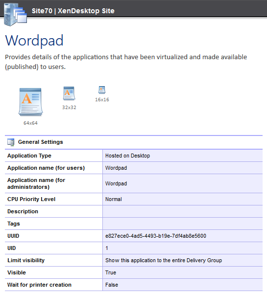 Screenshot of published application settings in the XIA Configuration web interface