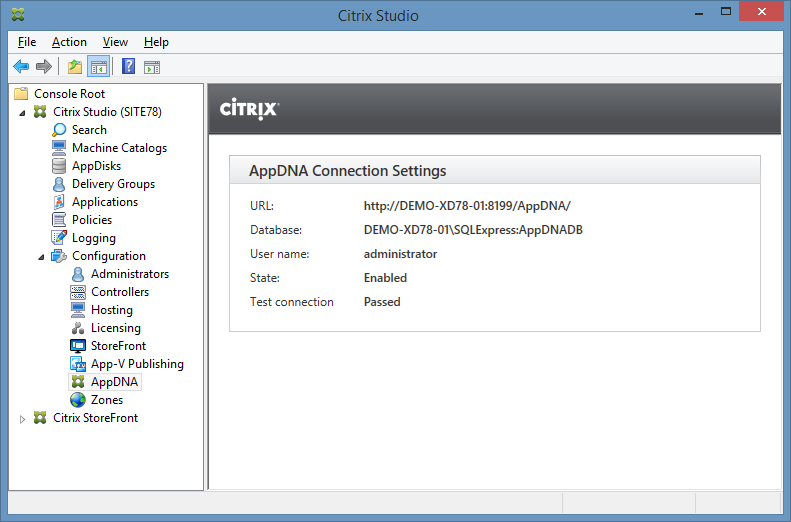 Screenshot of Citrix Studio showing AppDNA connection settings