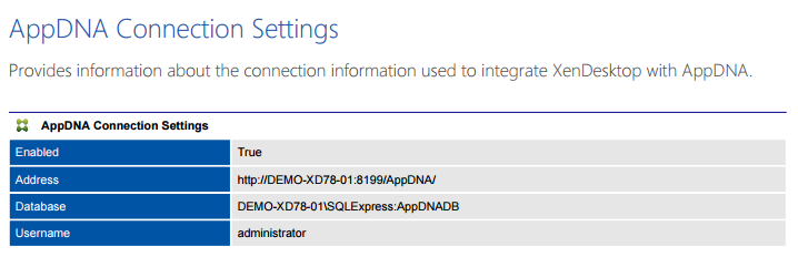 Screenshot of AppDNA connection settings in a document generated by XIA Configuration