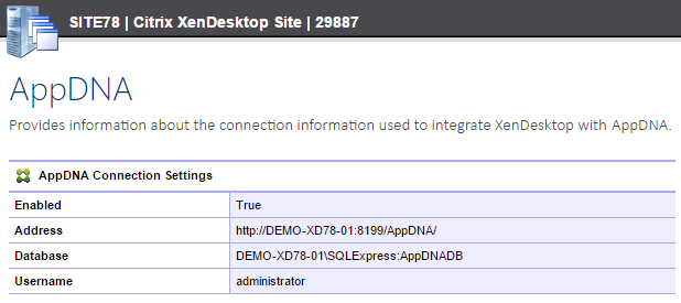 Screenshot of AppDNA connection settings in the XIA Configuration web interface