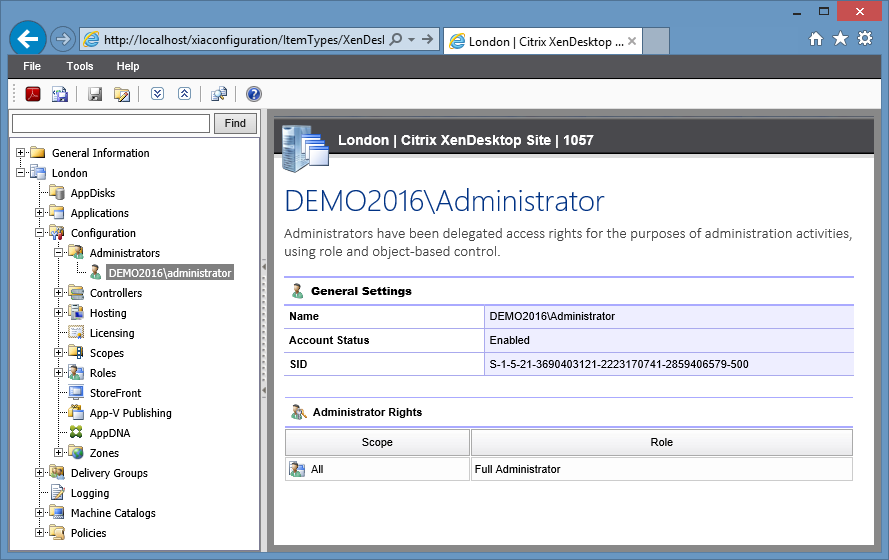Screenshot showing Citrix XenDesktop site administrators in the XIA Configuration web interface