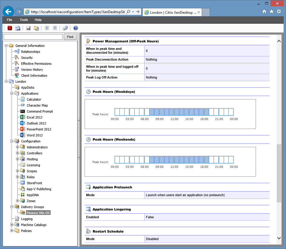 Screenshot of Citrix XenDesktop site delivery group settings in the XIA Configuration web interface