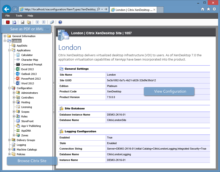 Screenshot of the navigation tree and Citrix XenDesktop site general settings in the XIA Configuration web interface