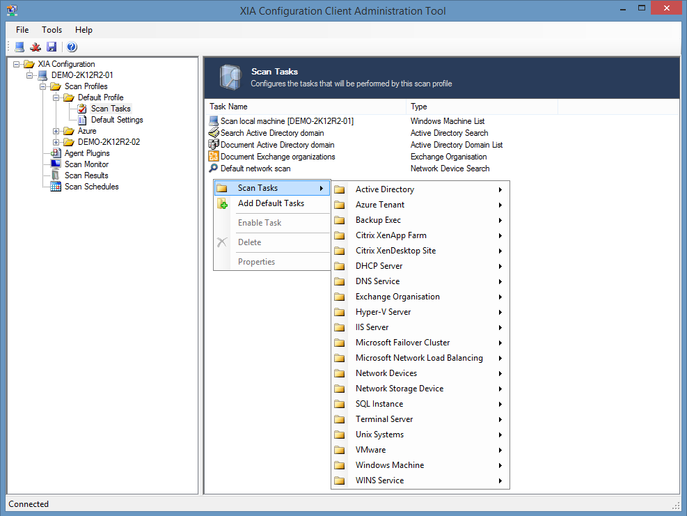 Screenshot of available scan tasks in the XIA Configuration Client