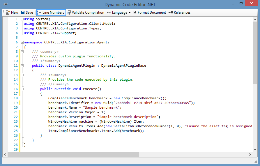 Screenshot of Dynamic Agent Plugin code in the XIA Configuration Client