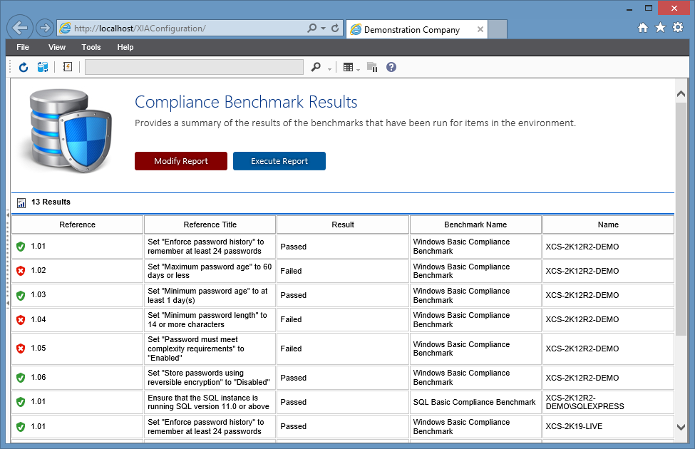 Screenshot of Compliance Benchmark results in the XIA Configuration web interface