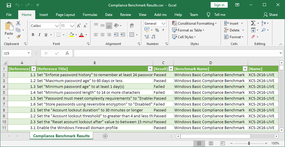 Screenshot of the Compliance Benchmark Results report in Microsoft Excel