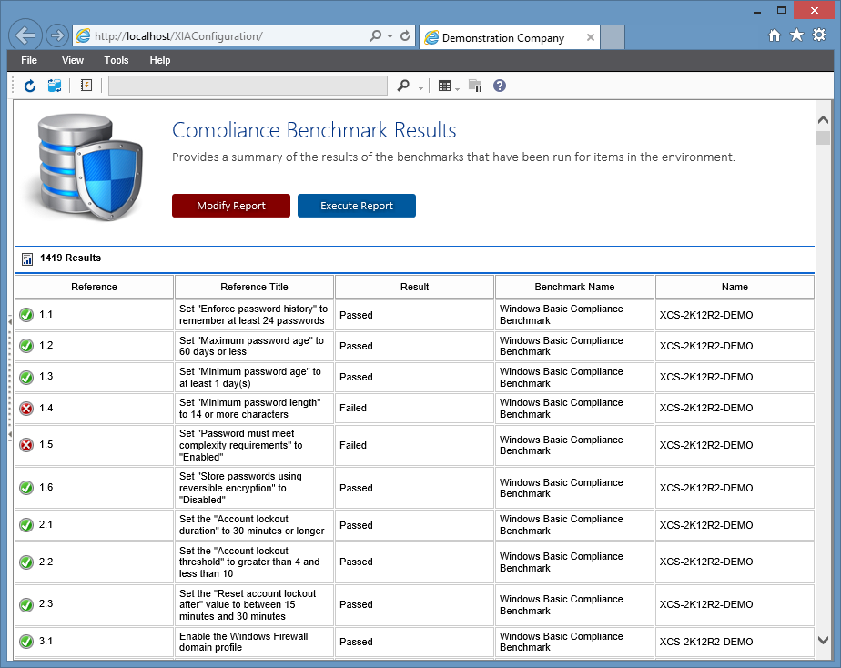Screenshot of Compliance Benchmark Results report in the XIA Configuration Server web interface