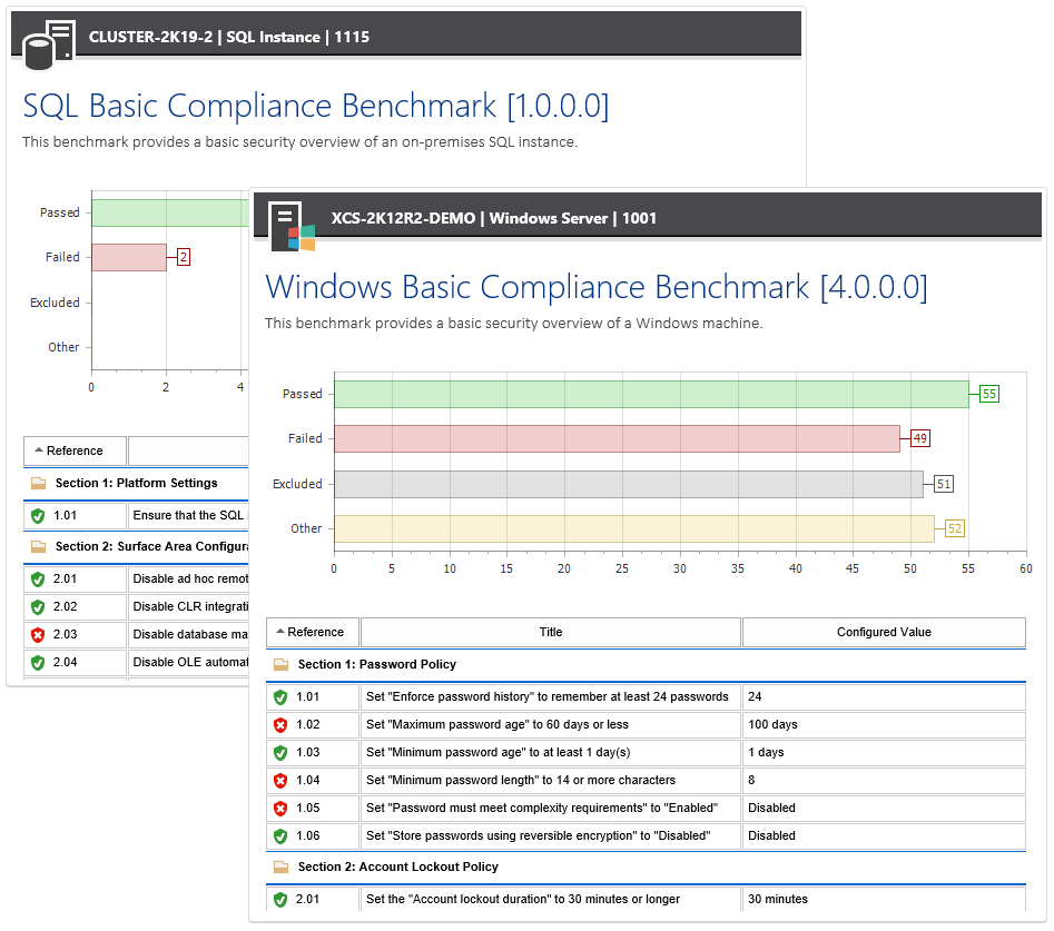 Screenshots of the SQL and Windows Compliance Benchmarks in the XIA Configuration web interface