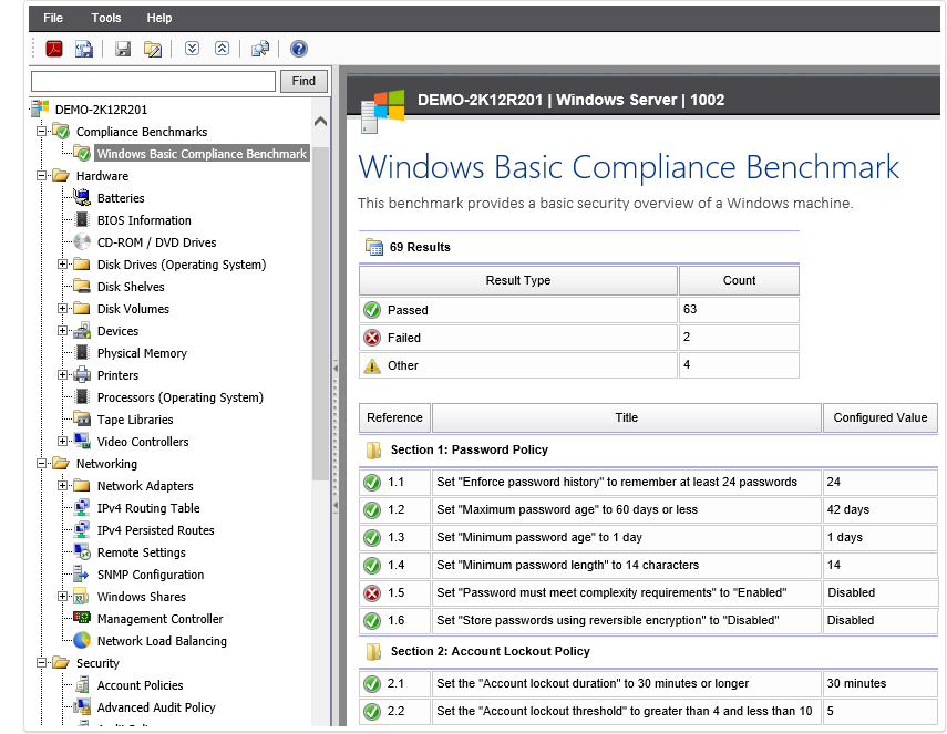 Windows Basic Compliance Benchmark screenshot