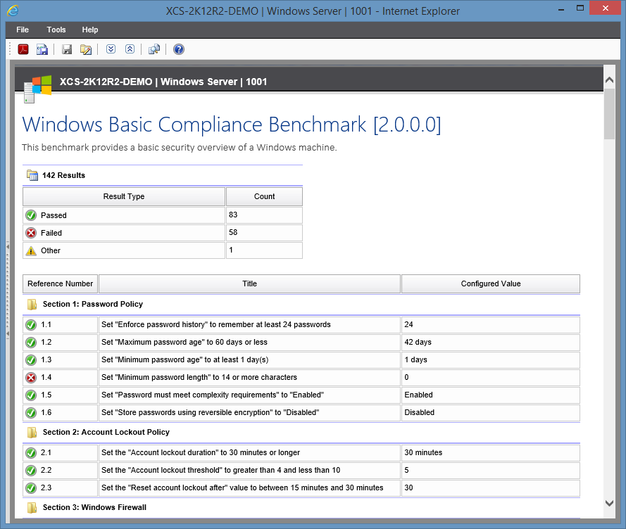 Screenshot of the Windows Basic Compliance Benchmark in the XIA Configuration Server web interface