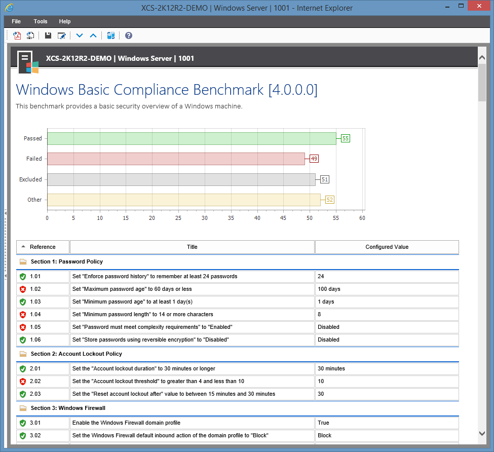 Screenshot of the Windows Basic Compliance Benchmark in the XIA Configuration web interface