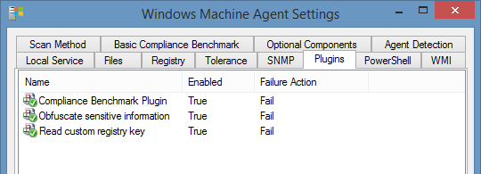 Screenshot of a Windows machine plugin in the XIA Configuration interface