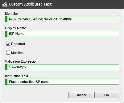 Custom text attribute