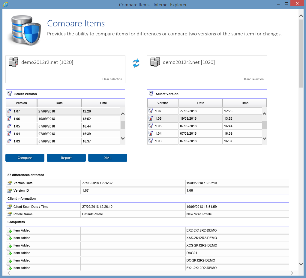 Screenshot showing comparison results in the XIA Configuration web interface