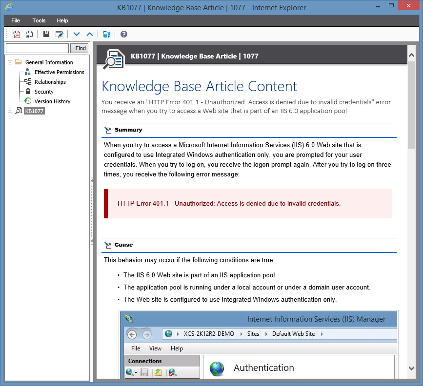 Screenshot showing the contents of a knowledge base article in the XIA Configuration web interface