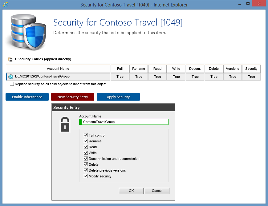 Screenshot showing security entries for a customer in the XIA Configuration web interface