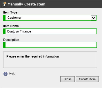 Screenshot showing the manual creation of a customer in the XIA Configuration web interface