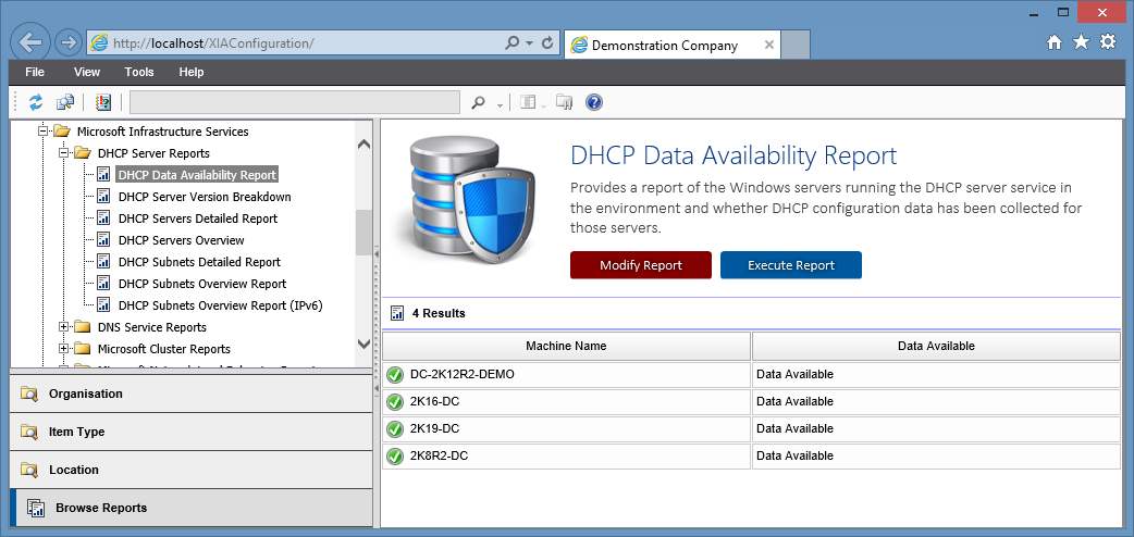 Screenshot of the DHCP data availability report in the XIA Configuration web interface