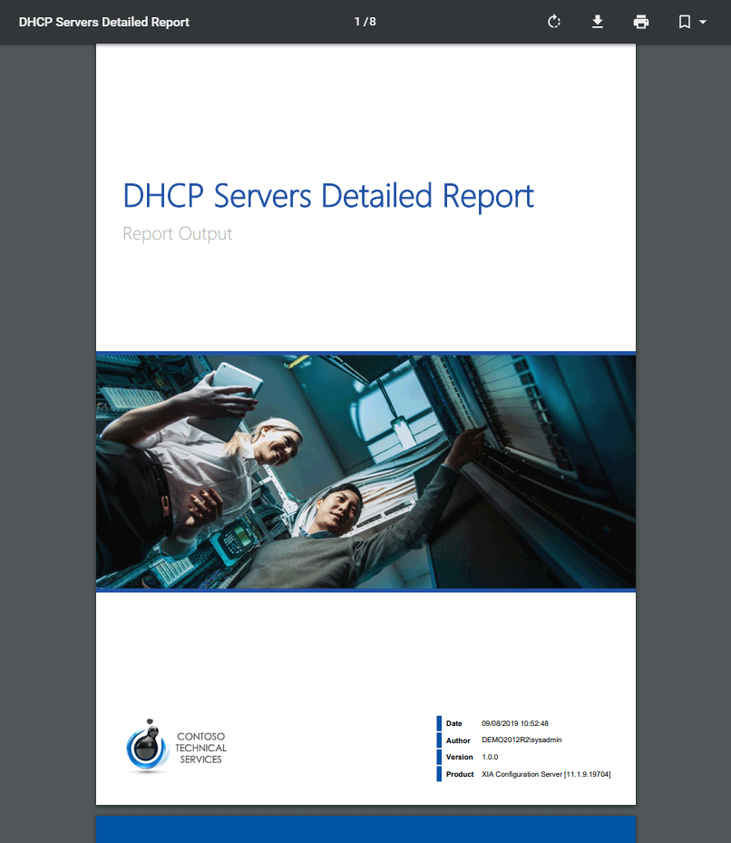 Screenshot of the DHCP servers detailed report cover