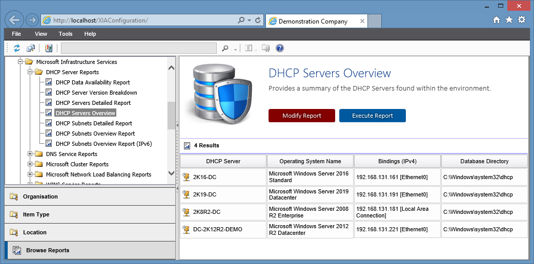 Screenshot showing the DHCP servers overview report in the XIA Configuration web interface