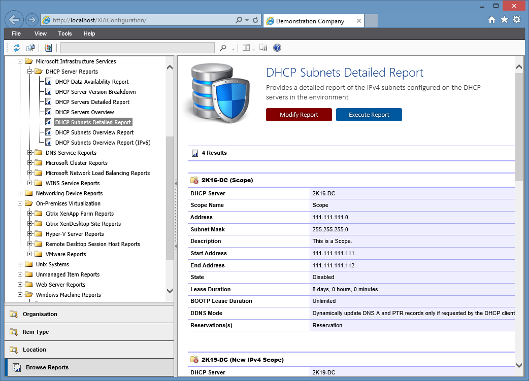 Screenshot of the DHCP subnets detailed report in the XIA Configuration web interface