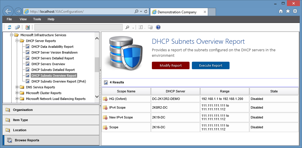 Screenshot of the DHCP subnets overview report in the XIA Configuration web interface
