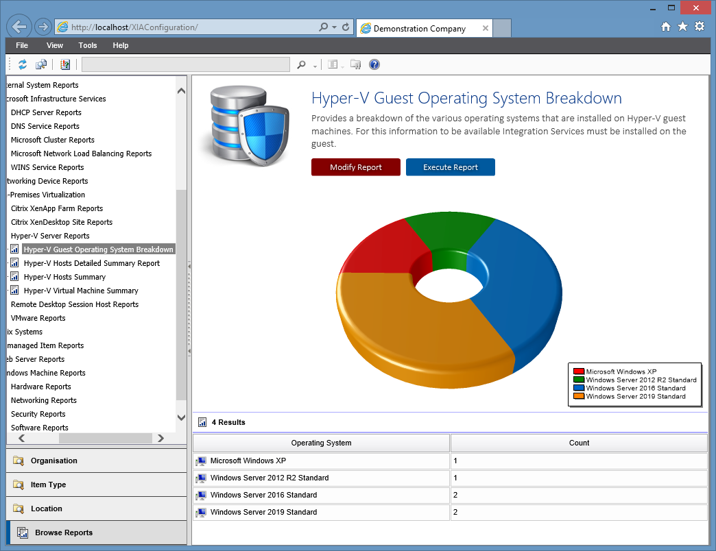 Screenshot of the Hyper-V Guest Operating System Breakdown Report in the XIA Configuration web interface