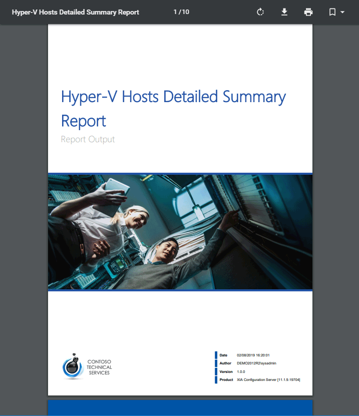 Screenshot of the Hyper-V hosts detailed summary report cover