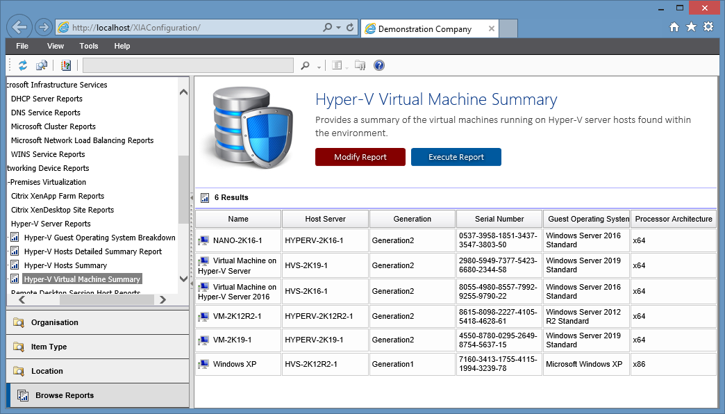 Screenshot of the Hyper-V Virtual Machine Summary Report in the XIA Configuration web interface