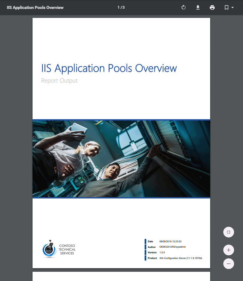 Screenshot of the IIS application pools overview report cover