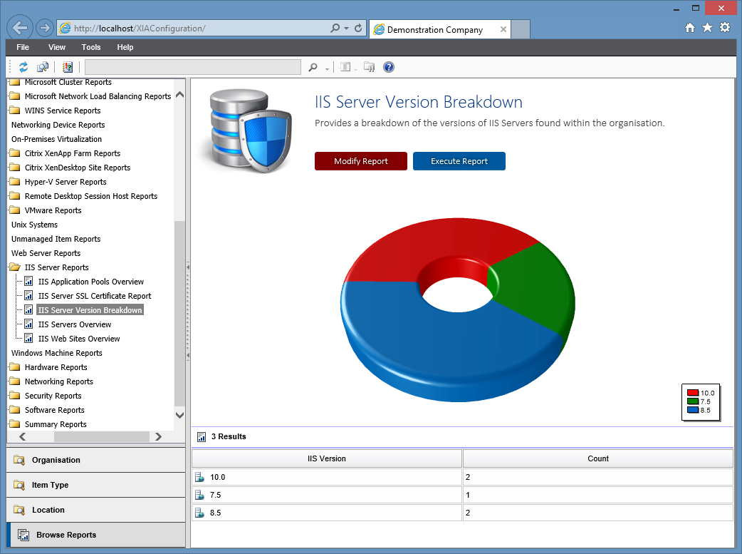 Screenshot of the IIS server version breakdown report in the XIA Configuration web interface
