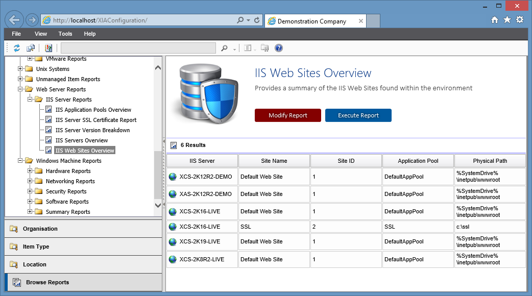 Screenshot of the IIS web sites overview report in the XIA Configuration web interface