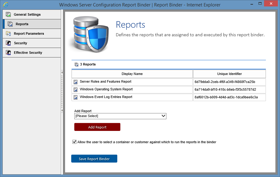 Screenshot showing the reports added to a report binder