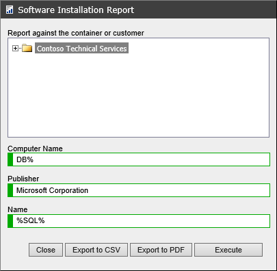 Screenshot showing the software installation report filters