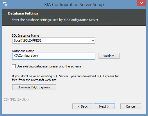 Screenshot of the XIA Configuration Server installer database settings