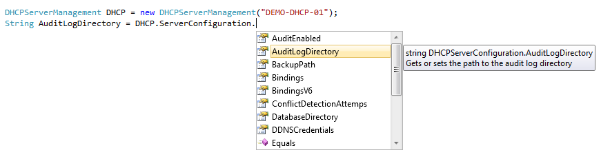 C# DHCP API code screenshot