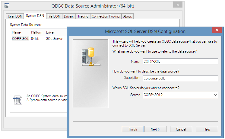 Change ODBC screenshot