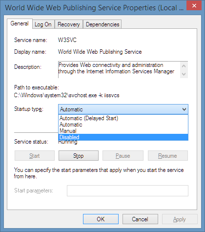 Disable WWW service screenshot